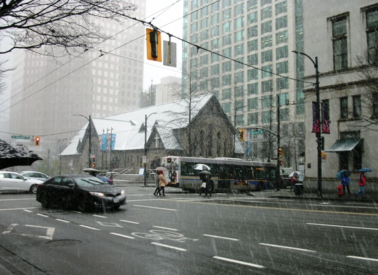 Snowy downtown Vancouver